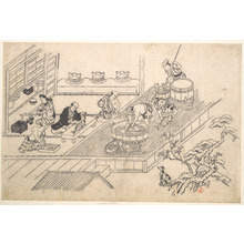 Hishikawa Moronobu: The Kitchen of a Joroya. - Metropolitan Museum of Art