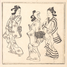 菱川師宣: Leaf from a Book Entitled: Wakoku Hiaku-jo: One Hundred Japanese Women - メトロポリタン美術館