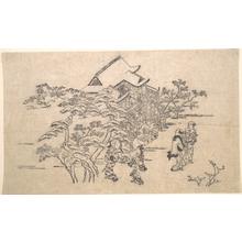 菱川師宣: Kiyomidzu Temple in Kyoto - メトロポリタン美術館