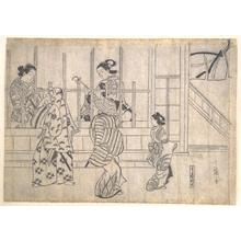 菱川師宣: Street Scene in Yoshiwara - メトロポリタン美術館