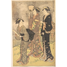 Torii Kiyonaga: Three Young Women Strolling on the Bank of the Sumida River - Metropolitan Museum of Art