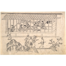 菱川師宣: The Sixth Scene from Scenes of the Pleasure Quarter at Yoshiwara in Edo - メトロポリタン美術館