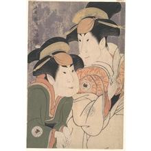 東洲斎写楽: Segawa Tomisaburô II and Nakamura Manyo as Yadorigi and Her Maid Wakakusa in the Play