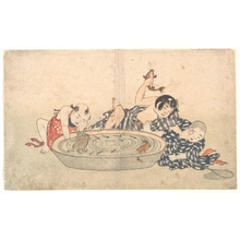 北尾重政: Boys Playing with a Basin of Fish and Turtles - メトロポリタン美術館