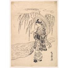 北尾重政: Ono no Dofu as a Young Man Watching a Frog Jumping at a Willow Branch - メトロポリタン美術館