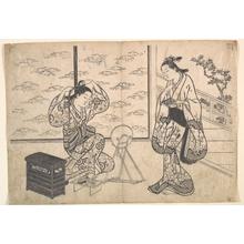 Hasegawa Mitsunobu: Two Women in a Room Opening on a Verandah - Metropolitan Museum of Art