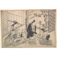 Hasegawa Mitsunobu: Interior, Three Figures: Sake Party - Metropolitan Museum of Art