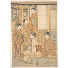 勝川春潮: Group of Young Women on the Veranda of a Tea–house - メトロポリタン美術館