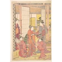 勝川春潮: A Young Woman with a Tray of Sweetmeats - メトロポリタン美術館
