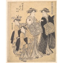Katsukawa Shuncho: The Oiran Utagawa of Matsubaya attended by Her Kamuro Yoshino and Tatsuta - Metropolitan Museum of Art