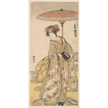 勝川春好: Mimasu Tokujuro as a Woman Standing Near a Winding Stream - メトロポリタン美術館