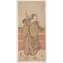 勝川春好: Matsumoto Sumezô as a Man in Winter Attire Standing in the Snow - メトロポリタン美術館