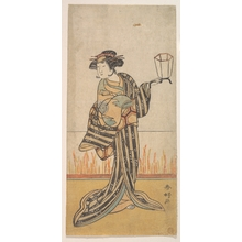 勝川春好: Second Yamashita Kinsaku as a Woman Standing in a Room - メトロポリタン美術館