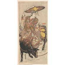 勝川春好: The Actor Matsumoto Koshiro IV on a Bullock in a Snowstorm - メトロポリタン美術館