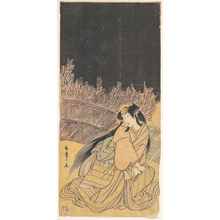 勝川春章: The Third Segawa Kikunojo as a Woman in a Crouching Position - メトロポリタン美術館