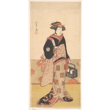 勝川春章: The Actor Iwai Hanshiro IV as a Woman in a Black Kimono - メトロポリタン美術館