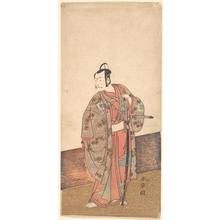 Katsukawa Shunsho: The Actor Ichikawa Danjuro V standing inside of a house and in front of an engawa - Metropolitan Museum of Art