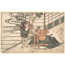 石川豊信: Legendary Strongman Sakata Kinpira (Kintoki) Drinking Sake - メトロポリタン美術館