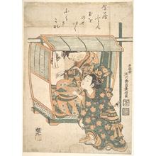 石川豊信: A Woman Seated in a Kago - メトロポリタン美術館