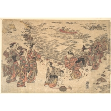石川豊信: Women and a Small Boy Gathering Shells on a Beach by the Sea - メトロポリタン美術館