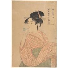 喜多川歌麿: Woman with a Glass Noisemaker (Popen) - メトロポリタン美術館