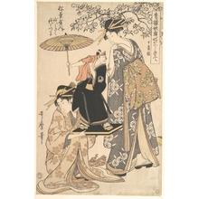 Kitagawa Utamaro: The Oiran Yoyogiku of Matsubaya Standing under a Cherry Tree - Metropolitan Museum of Art