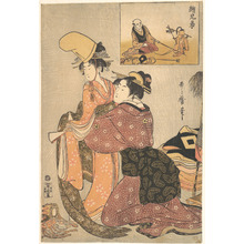 喜多川歌麿: A Woman Dressing a Girl for a Kabuki Dance (E-kyodai) - メトロポリタン美術館