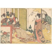 Kitagawa Utamaro: Girls Entertained by Performers, from the illustrated book Flowers of the Four Seasons - Metropolitan Museum of Art