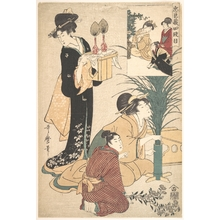 Kitagawa Utamaro: A Woman and a Man Arranging Flowers for the Tsukimi (Moon Festival) - Metropolitan Museum of Art