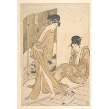 喜多川歌麿: Two Young Women Wrapped in Yukata After a Bath - メトロポリタン美術館