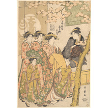 Kitagawa Utamaro: The Oiran Kasugano of Ogiya on Parade under Blossoming Cherry Trees - Metropolitan Museum of Art