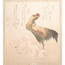 Totoya Hokkei: Cock and dog - Metropolitan Museum of Art