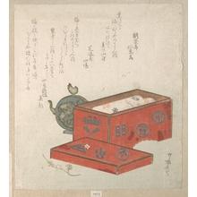 柳々居辰斎: Red Lacquer Box and Water-Pot - メトロポリタン美術館