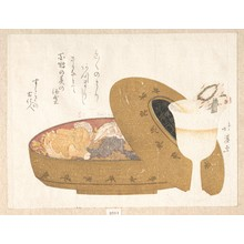 Totoya Hokkei: Food in a Lacquer Box, with Design of egoyomi (Pictorial Calendar) - Metropolitan Museum of Art