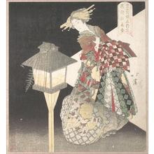 魚屋北渓: Courtesans Standing Beside a Lantern - メトロポリタン美術館