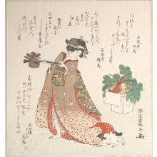 勝川春亭: Young Woman Carrying a Wine-Pot for the New Year Ceremony - メトロポリタン美術館