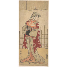 勝川春英: The Third Segawa Kikunojo as a Woman Standing, Holding a Fan - メトロポリタン美術館