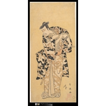 勝川春英: The Actor Ichikawa Yaozô III as Fuwa Banzaemon in a Thunder Robe, Playing with a Fan - メトロポリタン美術館