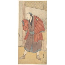 勝川春英: Onoe Matsusuke as a Servant Standing Beside a House - メトロポリタン美術館