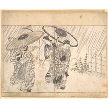 Nishikawa Sukenobu: A Lady with Three Attendants in the Rain - Metropolitan Museum of Art
