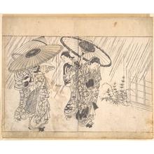 西川祐信: A Lady with Three Attendants in the Rain - メトロポリタン美術館