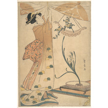 歌川豊広: A Woman Tying up a Curtain, a Flower Arrangement of Chrysanthemums in a Boat-shaped Hanging Vase, and Narcissus Arranged in a Flower Vase - メトロポリタン美術館