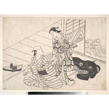 西川祐信: Lady Interrupting Her Lover, who is Playing the Shamisen - メトロポリタン美術館