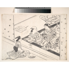 Nishikawa Sukenobu: Lady Playing Shamisen, with Her Lover and Attendant Nearby - Metropolitan Museum of Art