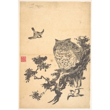 Utagawa Toyohiro: Owl and Two Swallows - Metropolitan Museum of Art