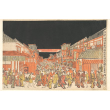 Utagawa Toyoharu: Perspective Picture (Uki-e): Theater District at Dawn on Opening Day of the Kabuki Season - Metropolitan Museum of Art