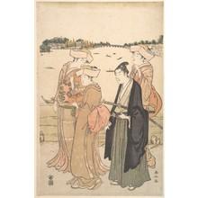 勝川春山: A Young Samurai and Three Women - メトロポリタン美術館