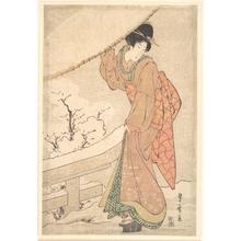 歌川豊広: A Young Woman in a Snow Storm Carrying a Heavily Snow-Laden Umbrella - メトロポリタン美術館