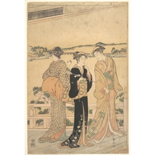 Katsukawa Shunzan: Three Women on a Veranda Overlooking a Bay - Metropolitan Museum of Art