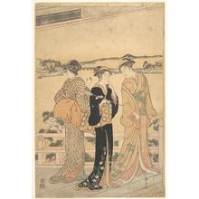 勝川春山: Three Women on a Veranda Overlooking a Bay - メトロポリタン美術館